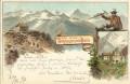 Tirol: Gruß von der Schwarzenstein Hütte 3000 Mtr Litho 1897 mit Bersteiger usw..  ( Correspondenz Tittel Komponist )