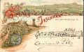 Gruß aus Jeschken bei Reichenberg in Böhmen Litho 1895 Gebirgsverein usw.