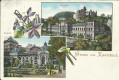 Gruß aus Karlsbad Litho 1900 Kurhaus, Kurpark, Blumen Verzierung