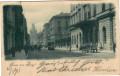 Gruß aus Prag 1901 Hybernerstrasse mit Fuhrwerken Menschen usw...