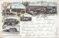 Gruß aus Zauchtel ( Mähren ) Litho 1899 Nordbahnhof, Schule, Kirche, Restaurant