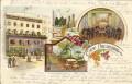 USA: Gruß aus New York Litho 1904 Cafe Boulevard Second Ave Sekt, Musik usw..