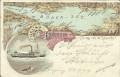 Vorarlberg: Gruß vom Bodensee Litho 1897 Mit Dampfer in Bregenz gelaufen