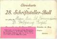 Wien I : Hofburg Burghof Ehrenkarte zum 28. Schriftsteller Ball 1931