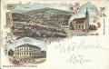 Wien XIII : Gruß aus Hütteldorf Litho 1898 Hotel Sachs mit Garten, Kirche ..
