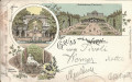 Wien XIII. Bezirk: Gruß aus Schönbrunn Litho 1898 Parterre, Ruine Kaiser Brunnen