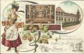 Wien XXIII : Gruß aus Liesing Litho ca. 1900 Liesinger Brauhaus, Bier, Bierkrüge
